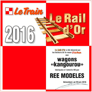 Elu Rail d'Or 2016 par la revue LE TRAIN
